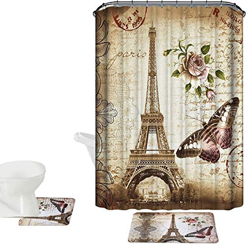 Amagical 15 Piece Shower Curtain Set Bath Mat Set Contour Mat Paris Tower Print with 12 Hooks