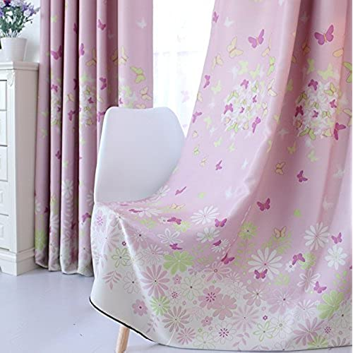 FADFAY Home Textile,Romantic Butterfly Curtains For The Bedroom,Sweet  Cherry Blossom Window Blinds,Living Room Curtain,2Panels