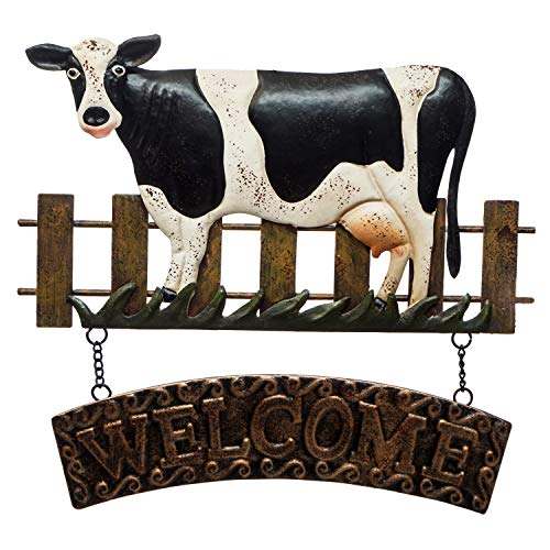 Cow Welcome Sign - Quality Metal 3D Design - Hand Painted Wall Hanging- 11 ½
