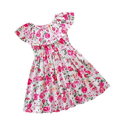 FEITONG Baby Kids Girls Floral Print Dress Short Sleeve Sundress Clothes (Pink, 4-5T) -
