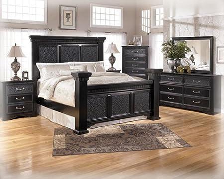 af348c6fd68d54 Ashley Cavallino King Mansion Panel Bed in Black Finish: Amazon.co.uk:  Kitchen & Home