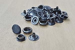 "10 pk Line 24 Snap steel Fasteners Black Plated 1/4"" post Leathercraft"