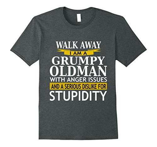 Mens Walk Away Grumpy Old Man With Anger Issues Sarcasm T Shirt Large Dark Heather