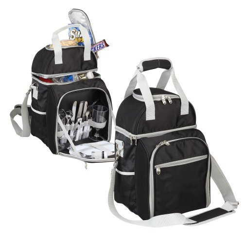 HOT & Cold Picnic Cooler with Two Dining Set- Black by Superdeals Store
