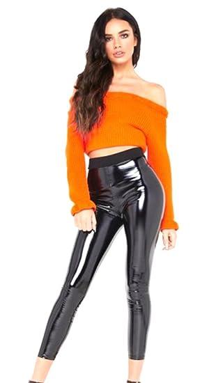 7bce36fb48617d R KON Ladies Vinyl Wet Look Shiny PVC Disco High Waist Elasticated Leggings  Pant Black 6