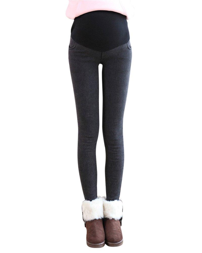 Elegante Dicke Warme Fleece Leggings Hose Schwangerschaftshose Umstandshose Mit Bauchband