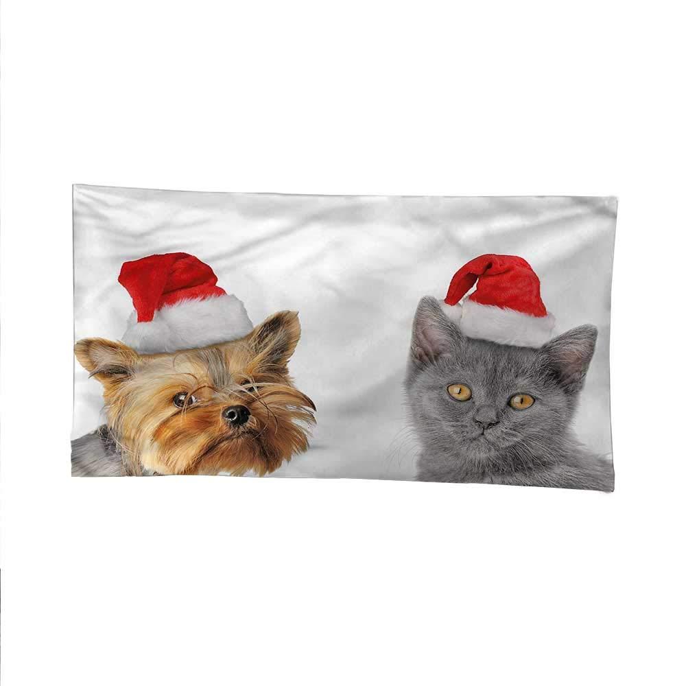 Christmastapestrywall tapestryCat Dog Xmas Hats 84W x 54L Inch