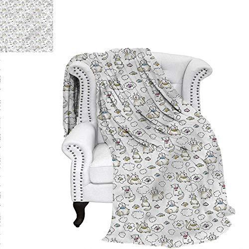 (RenteriaDecor Sketch Flannel Blanket Chubby Kitties Puffy Clouds Blanket 70