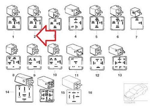 Violet 114 E12 E21 E23 E24 E28 E3 2002 528i 530i 320i 733i 735i 630CSi 633CSi 635CSi M6 524td 528e 533i 535i M5 3.0S 3.0SBav 3.0Si 318i 318is 325e 325i 325ix M3 840Ci 840i 850Ci 850CSi 735i 735iL 740i 740iL 750iL 525 5-Prong BMW OEM Multi Purpose Relay