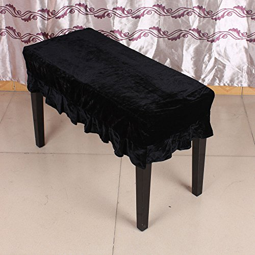 Andoer Universal Piano Stool Chair Bench Cover Pleuche Decorated with Macrame 75 35cm for Piano Dual Seat Bench Black