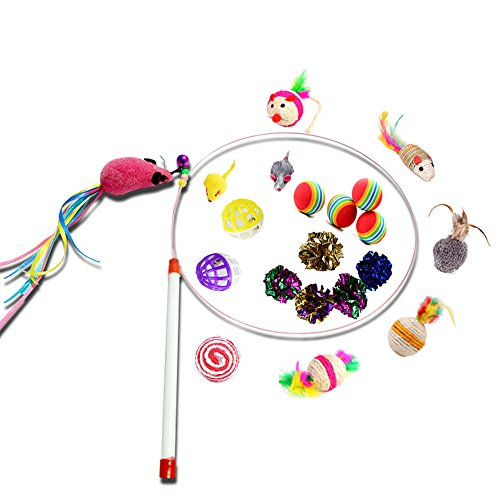 Kitten Cat Toys, Interactive Cat Teaser Wand Catcher with Fur Rainbow Mouse ,Crinkle Balls,Playing Balls,Sisal Ring Rope Ball for Kitty Teething Toy Pack of 20pcs