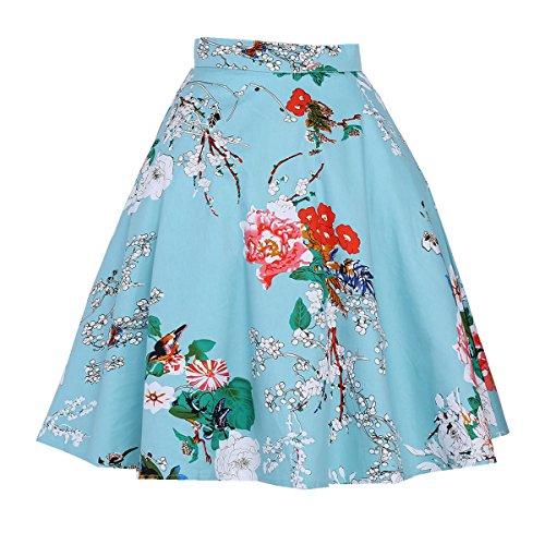 ZAFUL Mujer Vintage Falda Cintura Alta Grandes Dobladillo Faldas Plisadas Retro Impresión Vestidos de Fiesta Noche A-Line Hasta La Rodilla Flamenco S-2XL Azul 2