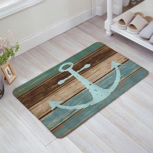 Indoor Doormat Stylish Welcome Mat Nautical Anchor Rustic Wood Board Entrance Shoe Scrap Washable Apartment Office Floor Mats Front Doormats Non-Slip Bedroom Carpet Home Kitchen Rug 23.6''x15.7'' by Prime Leader's doormats (Image #5)