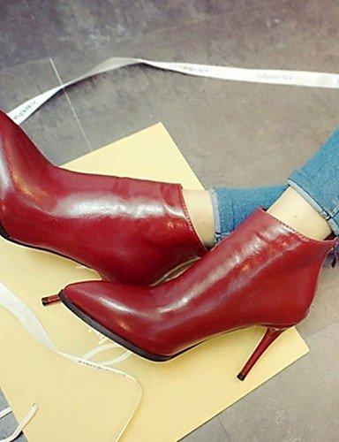 Rojo us8 Xzz Puntiagudos De Botas Uk6 Stiletto Casual Semicuero Eu39 Tacón Mujer Negro Zapatos Cn39 Gray Gris OwSArqOv