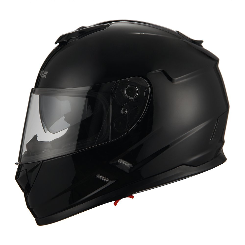 Triangle Motorcycle Street Bike Dual Visor Helmets DOT Approved (Glossy Black, Small)