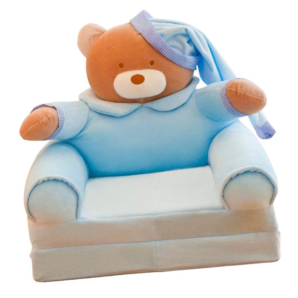 B Blesiya Sedia per Bambini Poltroncina in Velluto Fodera Beanbag Arredamento Interno Orso Blu