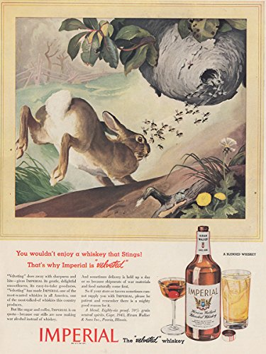 1943 Imperial Whiskey: Wouldn't Enjoy a Whiskey That Stings, Hiram Walker Print (Hiram Walker Whiskey)