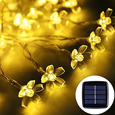 Solar Fairy lights, NockNock Solar Powered 23ft 7m 50 LED Waterproof Blossom String Lights for Wedding Christmas Party Holiday Lawn Patio Indoor and Outdoor Use - Warm White