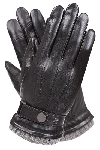 - WARMEN Men's Texting Touchscreen Winter Warm Leather Driving Gloves (8.5, Black)