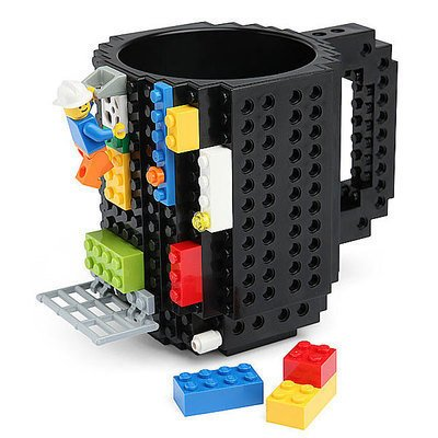Build-on Brick Mug DIY Coffee Mug Tea Cup Carton Building Blocks Toys, Unique Birthday or Christmas Gift for Children and Adults (1 Pack Bricks) ()