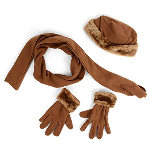 - Women's 3 PC Cloche Faux Fur Trim Fleece Hat Scarf & Gloves Winter Set (Camel)
