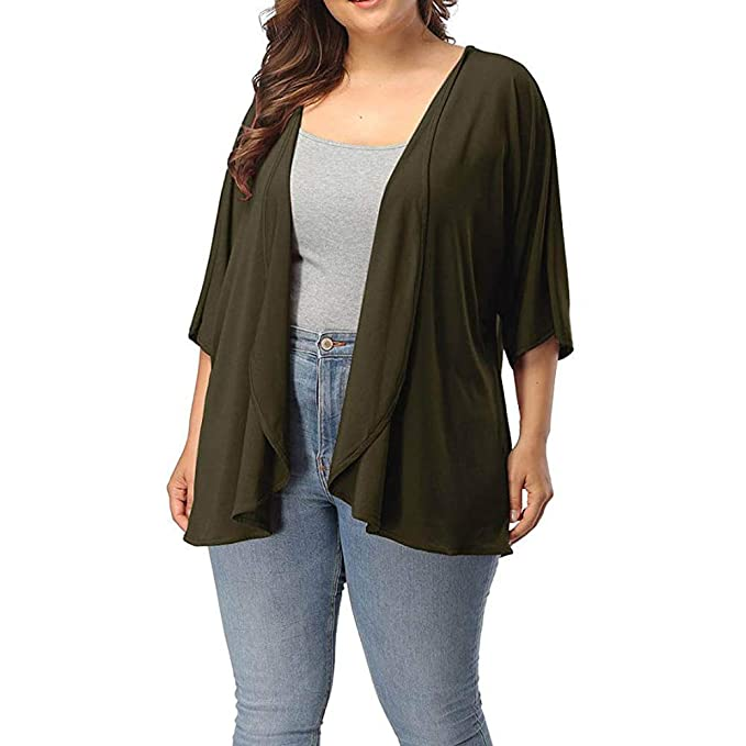 88b5edaf8a9 Womens Cardigans Plus Size Long Sleeve Lightweight Waterfall Drape Open  Front Coats Jackets Kimono Outwear for Ladies Girls Fashion Kintted Sweaters  ...