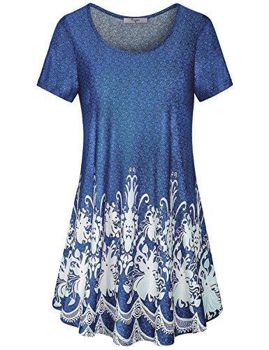 Ladies Tops And Blouses On Sale  Cestyle Womens Floral Round Neck Short Sleeve Casual Leggings Tee Shirt Holiday Flowing Knitted Tunic Shirts Blue X Large