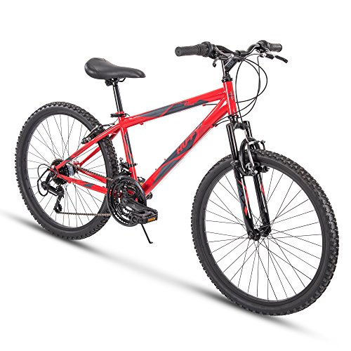 "Huffy 24"" Summit Ridge Mens 21-Speed Hardtail Mountain Bike, Red Gloss"