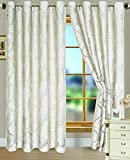 RT Designers Collection Danika Clipped Jacquard 54 x 84 in. Grommet Curtain Panel, Ivory Review