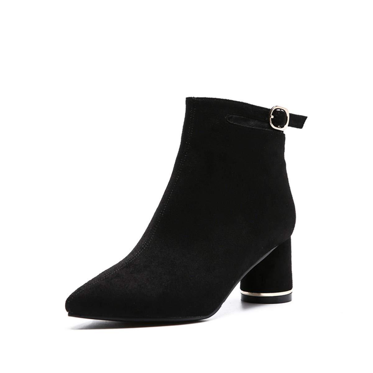 LBTSQ-Mittelfristig Hat Schuhe Hochhackige Stiefel Kurze 6Cm Modische Joker Wildleder Ausgehöhlt Gürtel Nackt Stiefel Grob Hacken.
