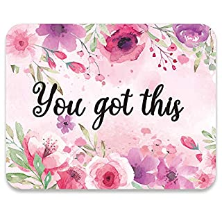 AUDIMI Mouse Pad Pink Flower Design You Got This Inspirational Quote Watercolor Floral Design Botanical Mouse Mat for Office Decor