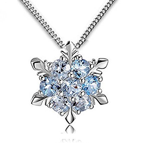 Peace River Designs Women Girls Jewelry Elsa Frozen Inspirid Snowflake Necklace With Ice Blue Pendant