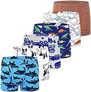slaixiu Kids Underwear Dinosaur Cartoon Boys Boxer Briefs Soft Cotton Comfortable Boy Underwear Set Boys Boxer