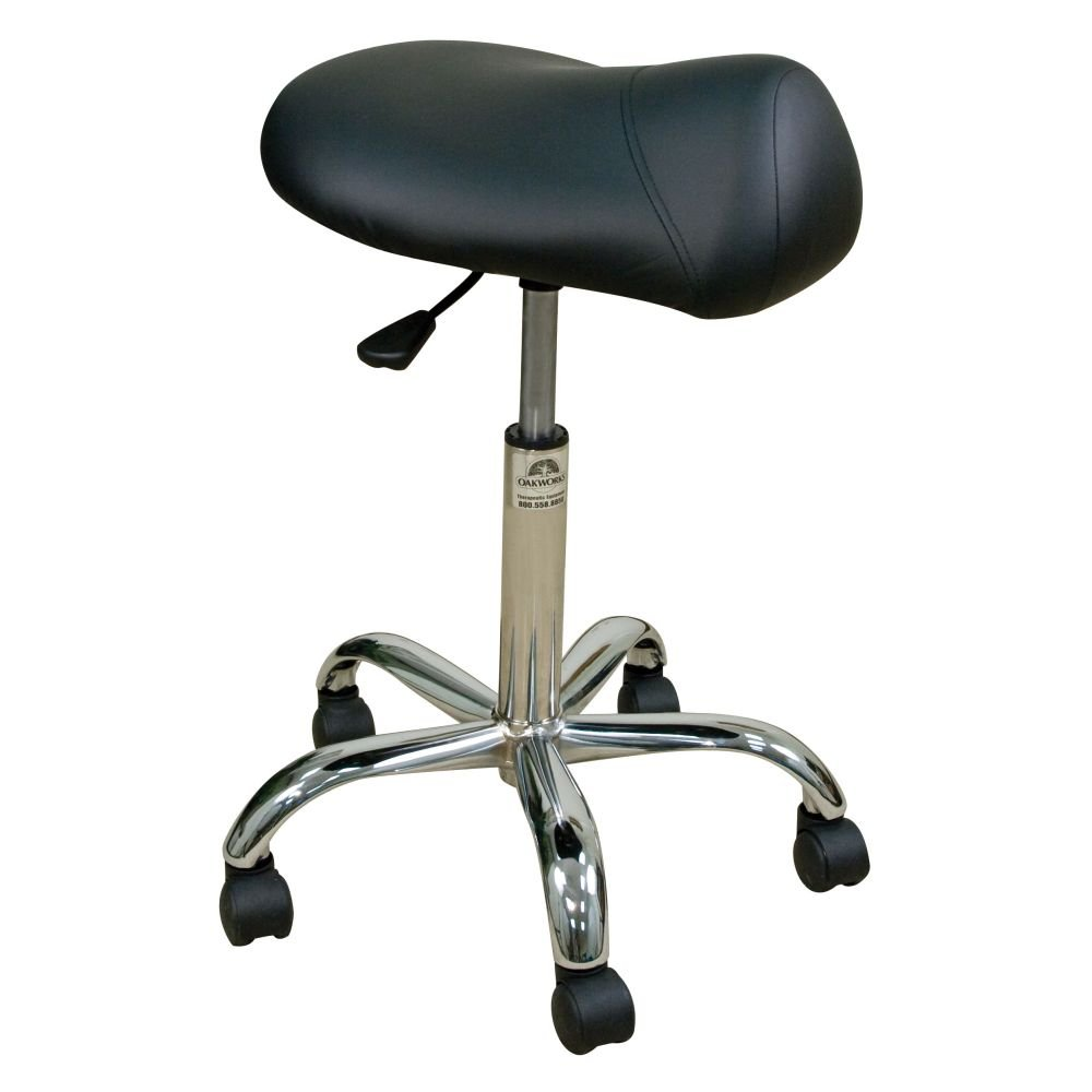 Oakworks 60430-T01 Professional Height Adjustable Stool with Saddle Seat, High Height Range, Coal Upholstery