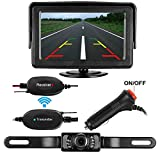 Emmako Backup Camera Wireless and Monitor Kit 9V-24V Rear View Camera System With 7 LED IR Night Vision Waterproof 4.3 Display Guide Lines For Car/ SUV/Van