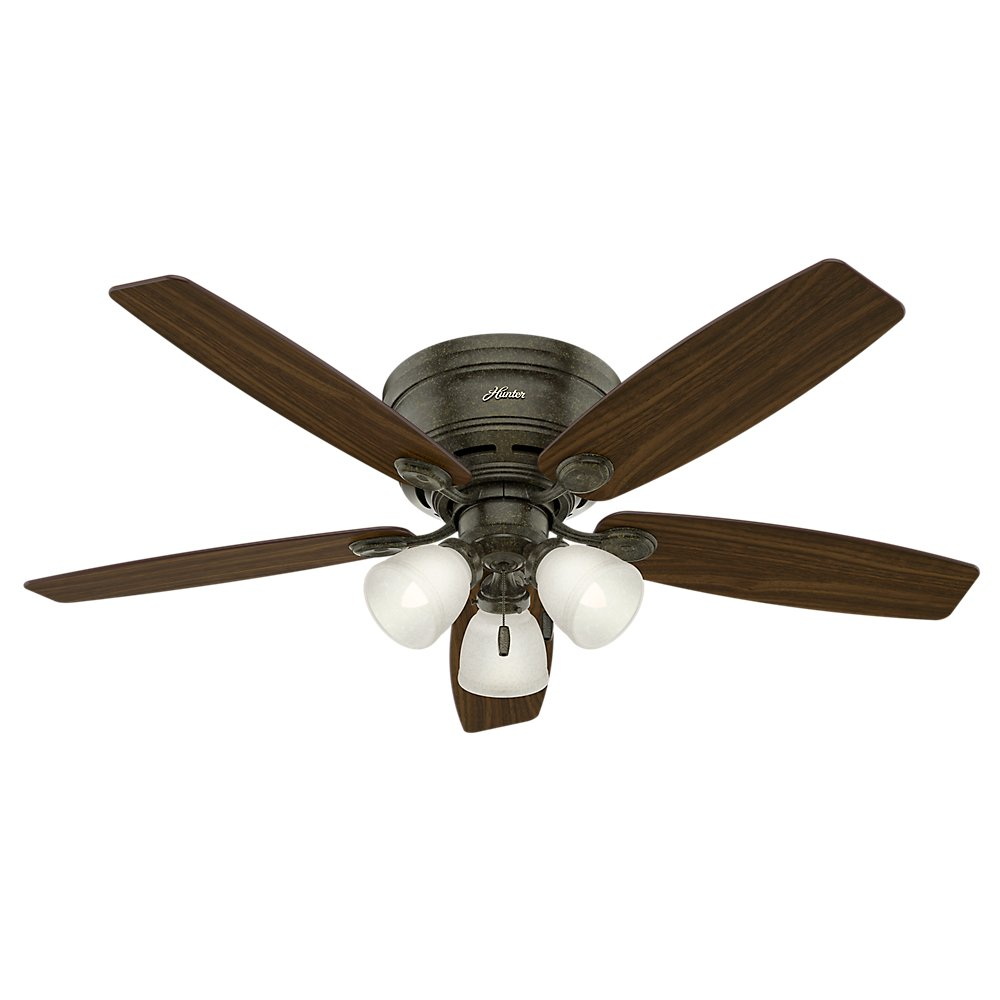 Hunter 52'' Low Profile Hugger Provencal Gold Ceiling Fan with Light