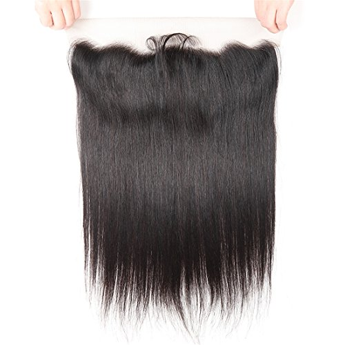 Cheap West Kiss 13×4 Full Lace Frontal Closure With Baby Hair Ear To Ear Free Part Brazilian Straight Virgin Human Hair Extensions Natural Color (18 inches lace frontal)