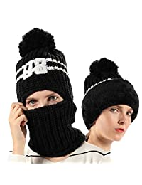 015f9fb0c2d FLY HAWK Women Girls Knit Beanie Mask Balaclava Hat Winter Outdoor Ski  Cycling Cap