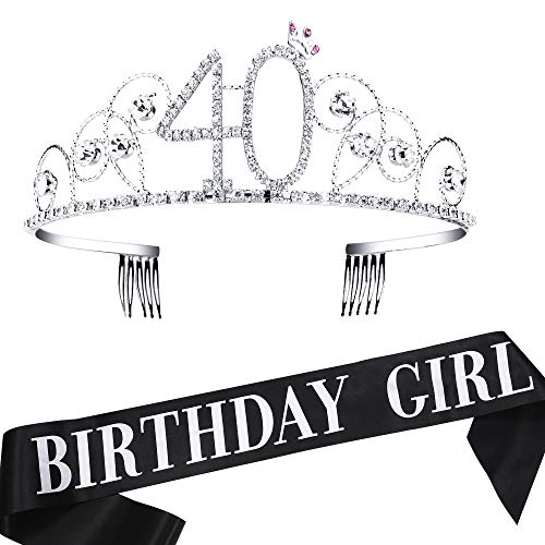 BABEYOND 40th Birthday Tiara and Sash Crystal Happy Birthday Crown and Satin 40 & Fabulous Sash 40th Birthday Party Supplies Rhinestone 40th Princess Crown and Glitter -