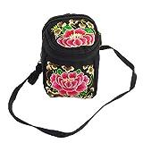 Meta-U Handmade Flower Embroidery Canvas Camera Cross Body Handbag