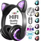 GBD Cat Ear Kids Headphones Bluetooth Boys Girls Wireless Microphone USB Rechargeable Volume Control On Over Ear Game Led Headset Phone Tablet Pad School Thanksgiving Birthday Christmas GIFS (Black)