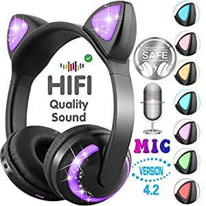 GBD Wireless Cat Ear Kids Headphones with Microphone Boys Girls Children School Travel Xmas Birthday Gifts Led Glowing Earphone 85dB Volume Control On Over Ear Game Headset for Tablet Pad (Black)