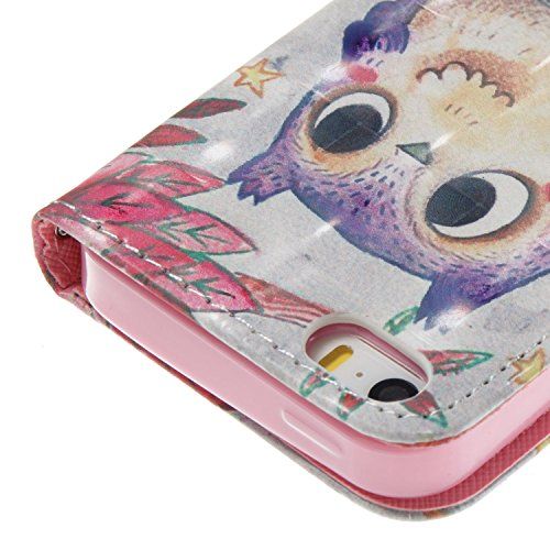 iPhone SE / 5 / 5S Hülle Lila Eule PU Leder Wallet Handytasche Flip Etui Schutz Tasche mit Integrierten Card Kartensteckplätzen und Ständer Funktion Für Apple iPhone SE / 5 / 5S + Zwei Geschenk