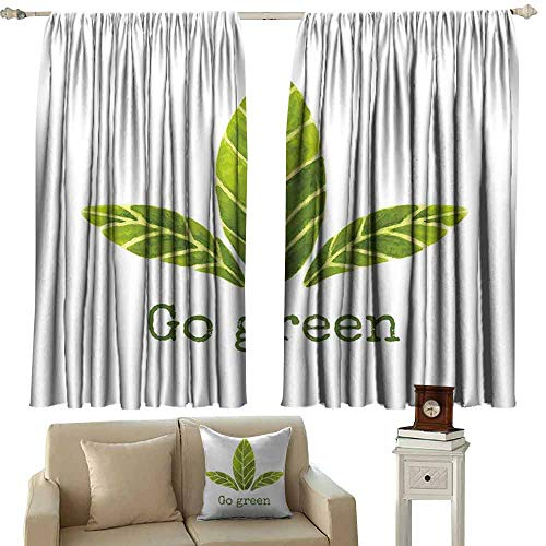 DUCKIL Kids Room Curtains Sage Ecological Concept Hand Painted Style Watercolor Leaves with Go Green Inspirational Noise Reducing Curtain W72 xL45 Green White