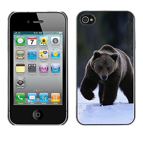 Omega Case PC Polycarbonate Cas Coque Drapeau - Apple iPhone 4 / 4S ( The Winter Grizzly Bear )