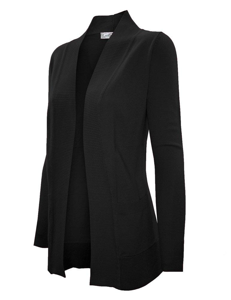Cielo Women's Classic Open Cardigan (Medium, Black)