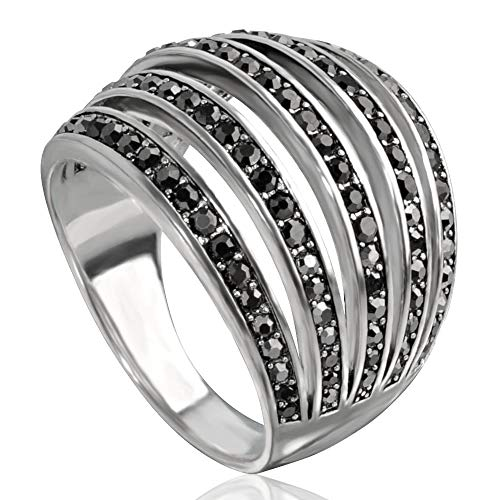 Sterling Silver Pave Dome - Mytys Vintage Fashion Silver Rings Retro Black Marcasite Cluster Cocktail Big Ring Wide Bands for Women (Marcasite Rings, 10)