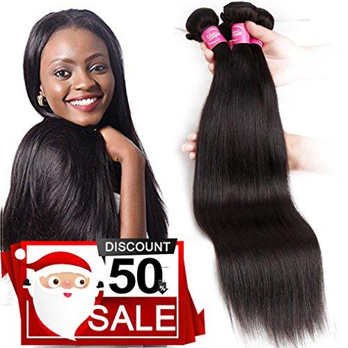 Mink 8A Brazilian Virgin Hair Straight Remy Human Hair 4 Bundles Deals (22'' 24'' 26'' 28'') 100% Unprocessed Brazilian Straight Hair Extensions Natural Color Weave Bundles by Grace Length Hair (Image #7)