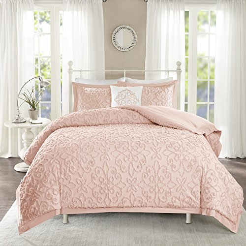 Medallion Blush (MPN 4 Piece Soft Pink Embroidered Medallion Pattern Comforter King/Cal King Set, Beautiful High-End Rich Textured Floral Design, Bright Blush Color, Supreme Quality Chenille Fabric Material, Unisex)