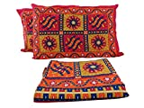 Cotton Orange Ethnic Traditional Indian threadwork/Kantha Work Flat bedsheet Bedspread Wall Tapestry Hanging, Queen Size with Pillow Cases